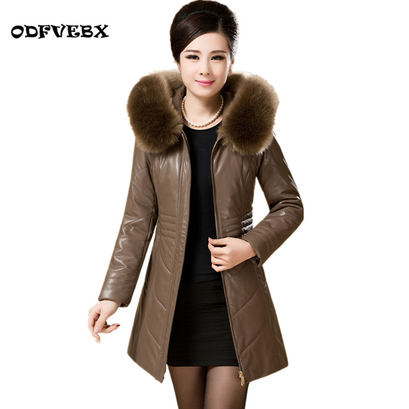 Winter boutique women pu leather Down cotton jacket middle-aged and elderly plus large size thick warm hooded collar thick coat winter new middle aged women leather outerwear middle length thickening jacket coat women plus size warm down cotton coat okxgnz