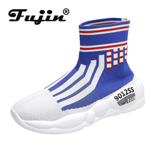 цены Fujin Sneakers Women Knit Upper Breathable Sport Shoes Dropshipping Sock Boots Chunky Shoes High Top Running Shoes for Female