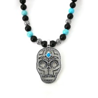 Thomas Skull Mask Disc Pendant Male Necklace With Black Obsidian Cross Natural Stone Beads Rebel Heart