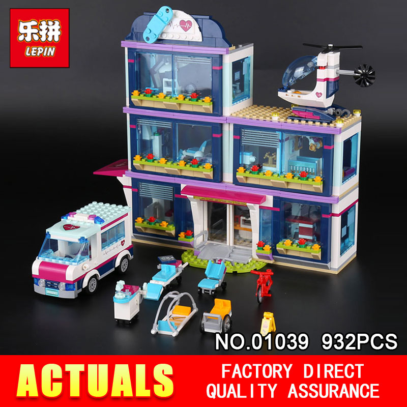 Lepin 01039 932Pcs Genuine The Heartlake Hospital Set Girl Series 41318 Building Blocks Self Locking Bricks Educational DIY Toys lepin 01039 friends girl series building blocks toys heartlake hospital kids bricks toy girl gifts compatible with legoing 41318