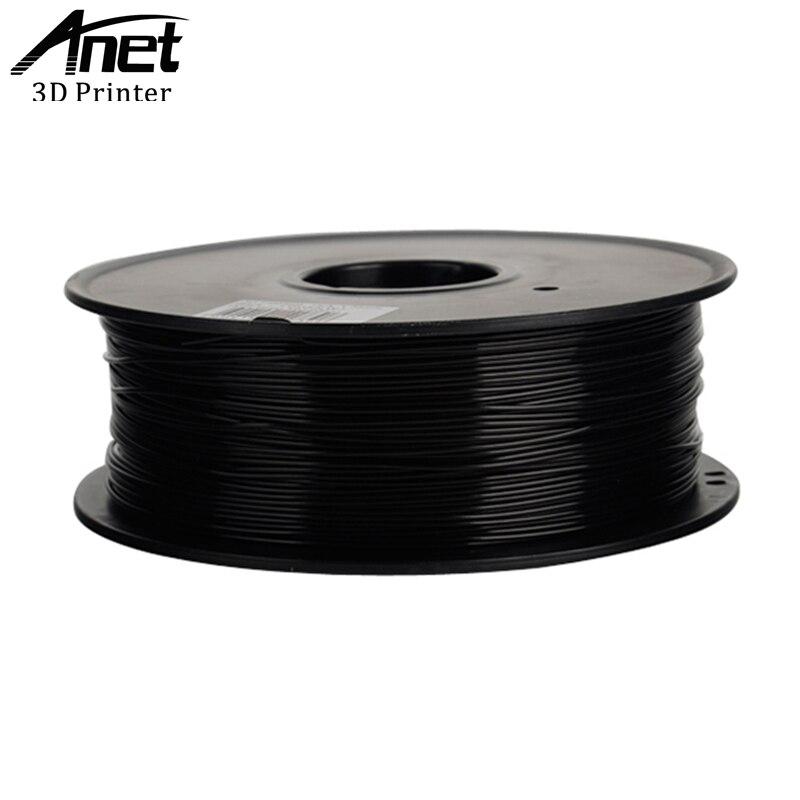 Anet Plástico PLA Para Impressora De Plástico ABS 1.75mm 1 3D kg 340 m 3D Qualidade do Material de Impressão Preto Branco borracha Consumíveis Filamento