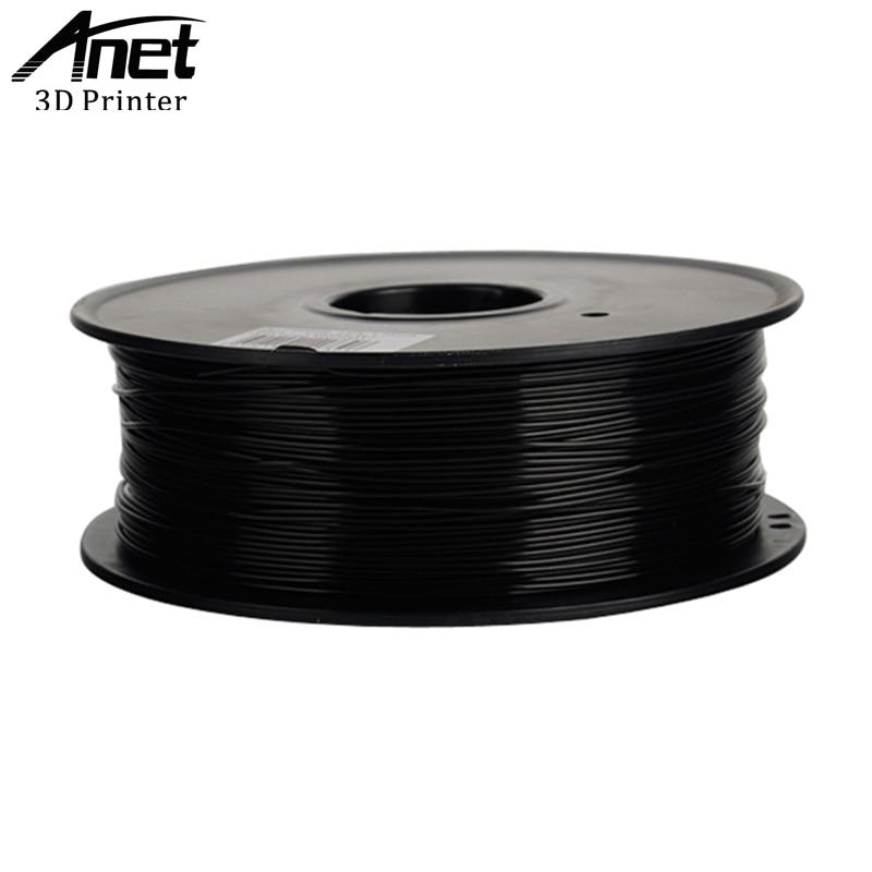 Anet PLA Kunststoff Für 3D Drucker ABS Kunststoff 1,75mm 1 kg 340 mt 3D Druck Material Qualität Schwarz Weiß gummi Verbrauchs Filament