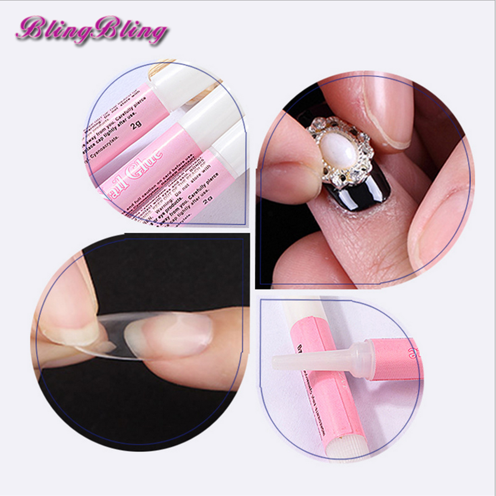 5pcs 2g Mini Nail Glue Acrylic False Nail Tips Rhinestones Decoation ...