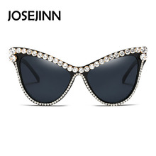 Best new luxury sexy crystal decoration cat eye oversized sunglasses women