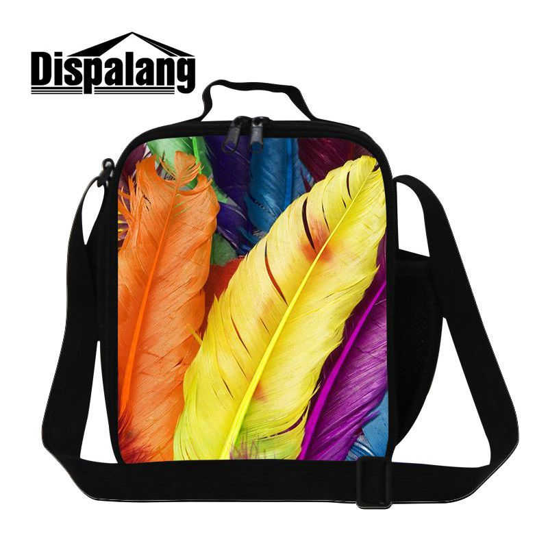 Dispalang Fashion Lunchbag For Women Feather Prints Thermal Food Picnic Lunch Bags Cooler Lunch Box Bag For Children Boys School
