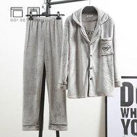 New Winter Male Pajamas Warm Sleepwear Male Pajamas For Man Flannel Pijama 2018 Pajama Tops Pants