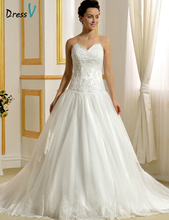 Romantic Wedding Dresses 2016 White Sweetheart Beadings on Body Backless Lace-Up Chapel Train Bridal Gowns vestidos de noiva