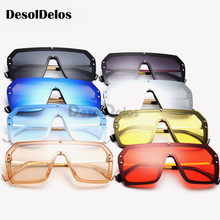 One Piece Sunglasses Square Men Half Metal 2019 Summer Style Oversized Sun Glasses for Women Large Candy Colors