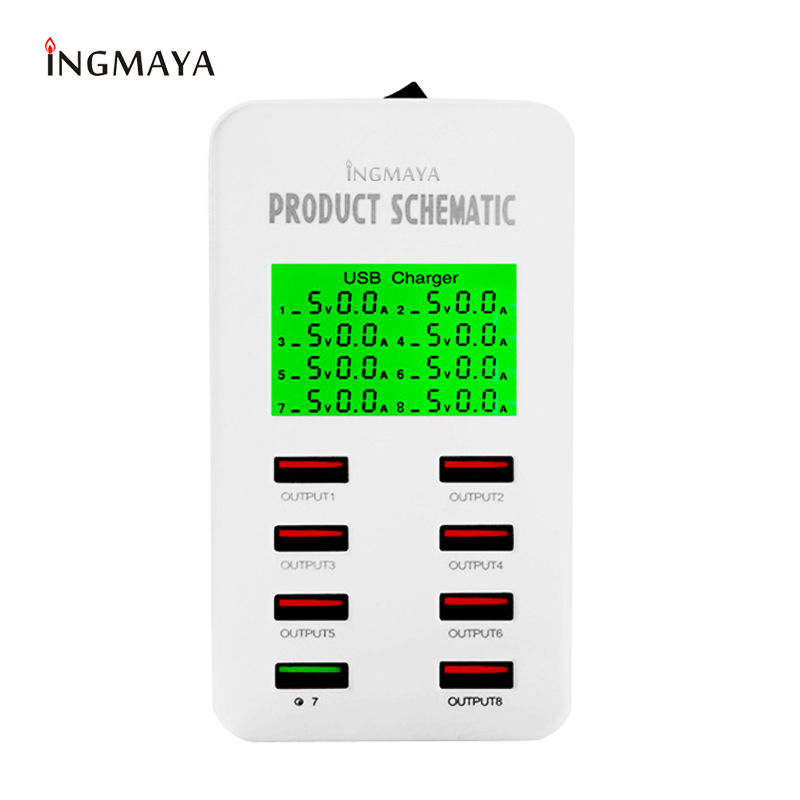 INGMAYA Smart USB Charger 8 Ports LED Digita Display Quick Charge 3.0 for iPhone iPad Samsung Huawei Meizu Xiaomi QC3.0 Adapter