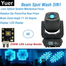 4 Pack Beam Spot Wash 3IN1 DMX Stage Lights LED 230W Moving Head Beam Party Lights Six Prism / Five Row Prism With Flightcase цены
