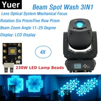 4 Pack Beam Spot Wash 3IN1 DMX Stage Lights LED 230W Moving Head Beam Party Lights Six Prism / Five Row Prism With Flightcase