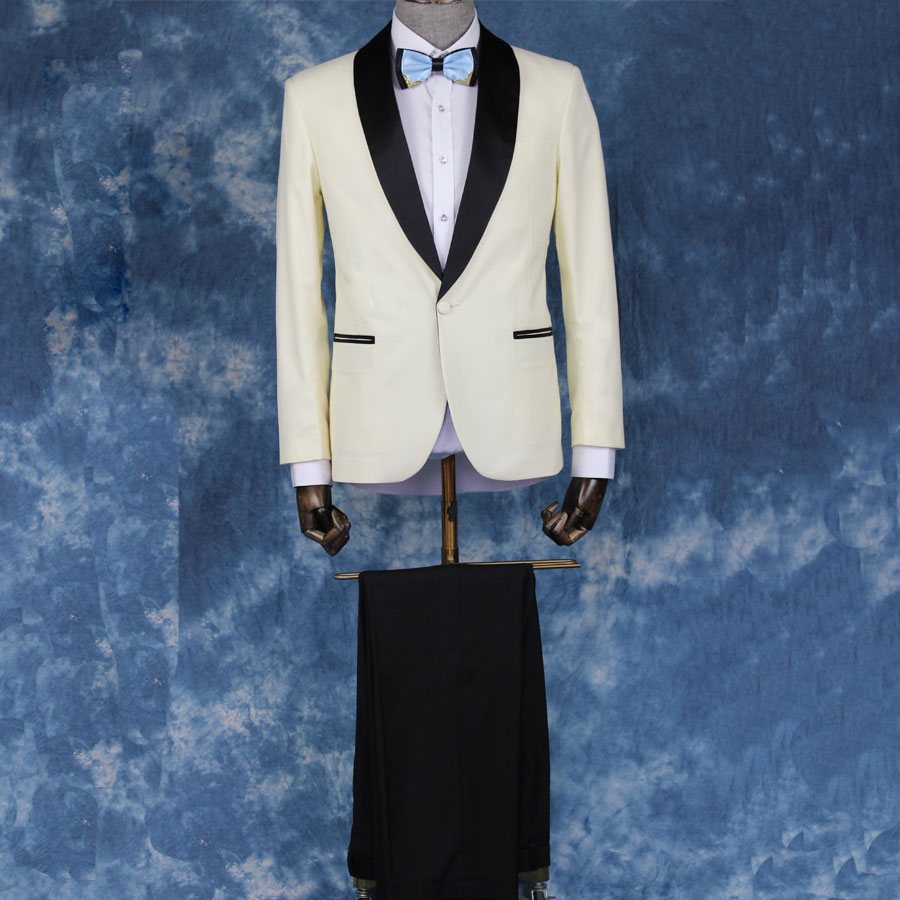 Beige Mens Tuxedos Custom Made Male Suits Dark Royal Blue Tweed Prom ...