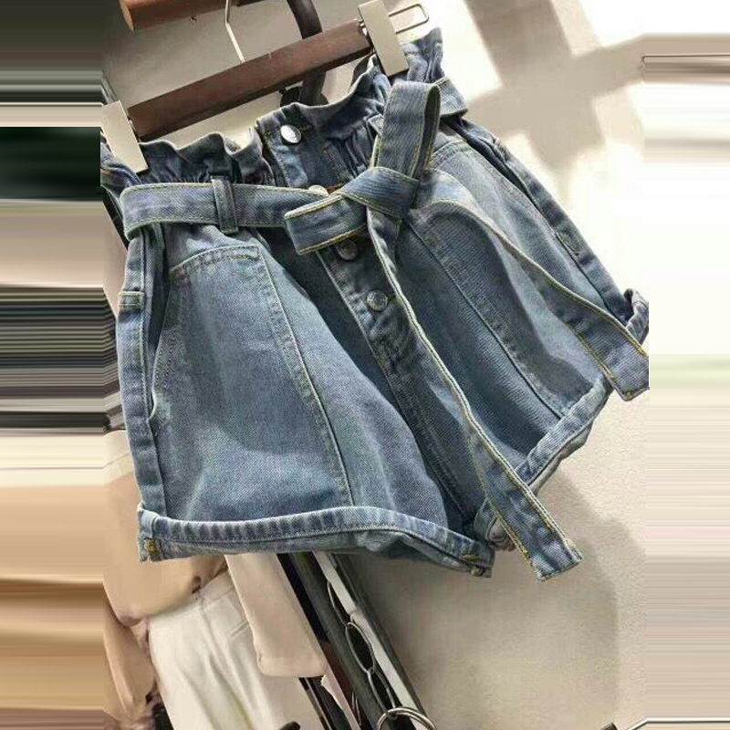 Casual Solid Buttons Lace Up Women's   Shorts   New Summer Fashion All Match Rough Denim   Short   Elastic Waist Wide Leg Female   Shorts