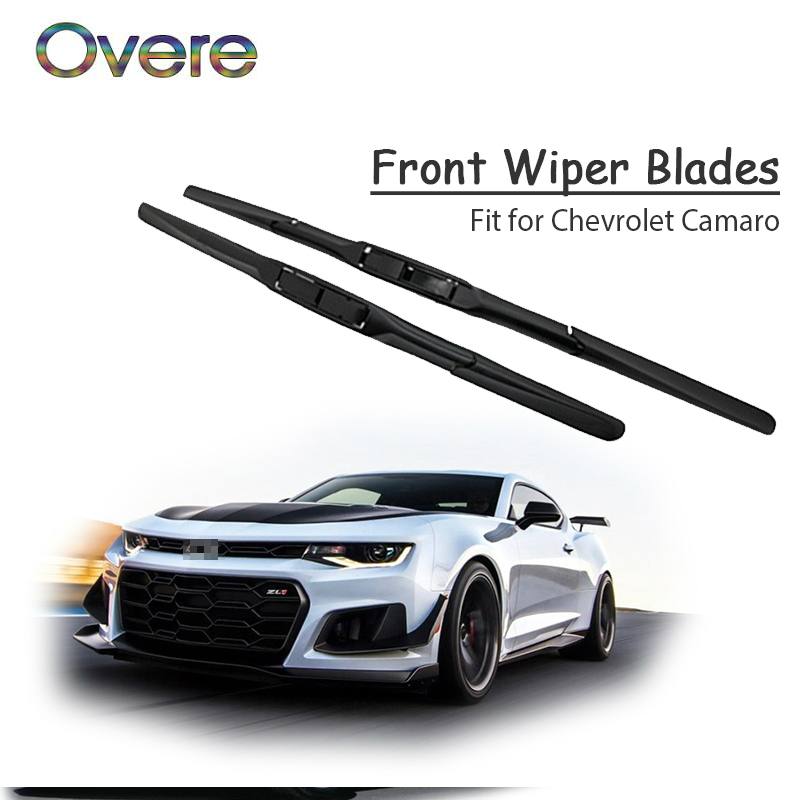 Overe 1Set Rubber Car Front Wiper Blade Kit For Chevrolet Camaro 2018 2017 2016-2010 Chevy 5 6th Windscreen Original Accessories