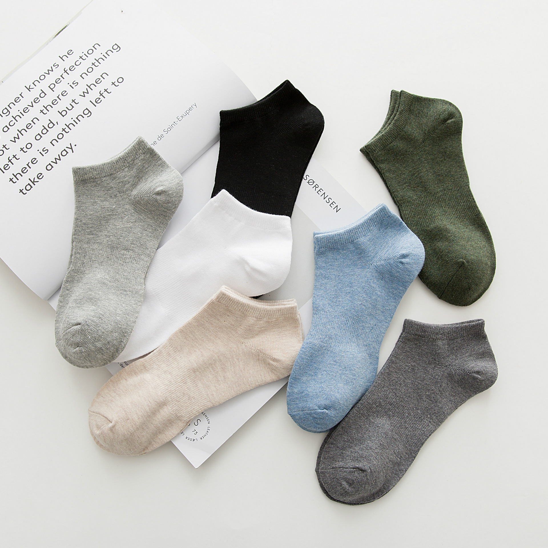 Four seasons solid color casual men socks Cotton mixed color 5 pairs of men socks