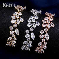 RAKOL Luxury Bridal Bracelet Olive Branch Cubic Ziraon Rose Gold Gold Color Crystal Jewelry For Women Girl Christmas Gifts