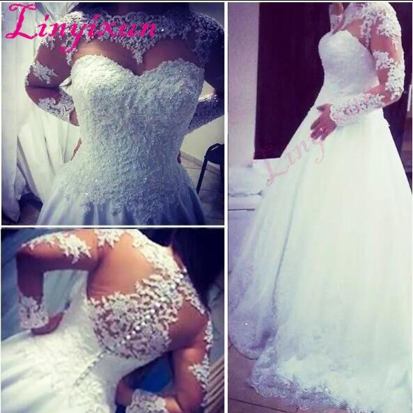 Long Sleeve Sheer High Neckline Wedding Dresses 2018 A Line White Lace Tulle Bridal Gowns Fashion Vestido De Noiva Custom Made