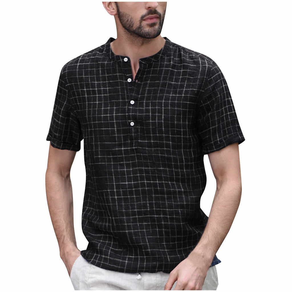 Casual Men's shirt Streetwear Vintage Short sleeve shirt Splicing Button Linen Solid Retro Male Blouse Tops Camisa masculina