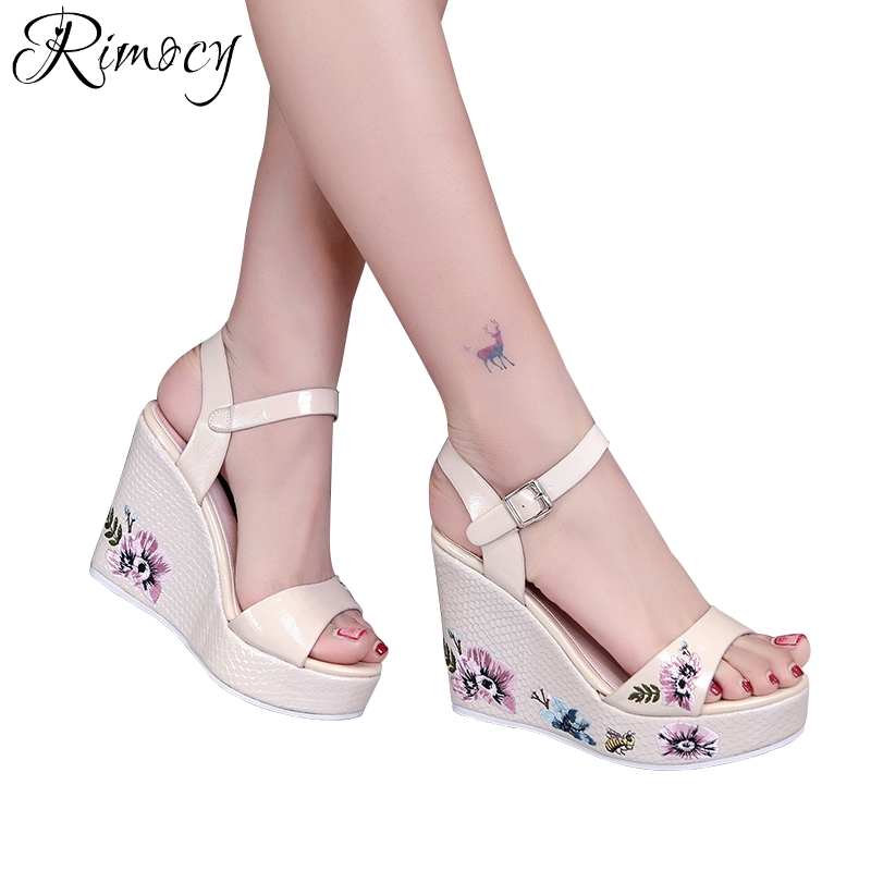 Rimocy embroidery flower wedges sandals women high platform heels ankle strap pumps elegant ladies open toe summer shoes woman hzxinlive elegant summer sandals women high heel wedges shoes woman round toe roman sandals ladies footwear female casual shoes