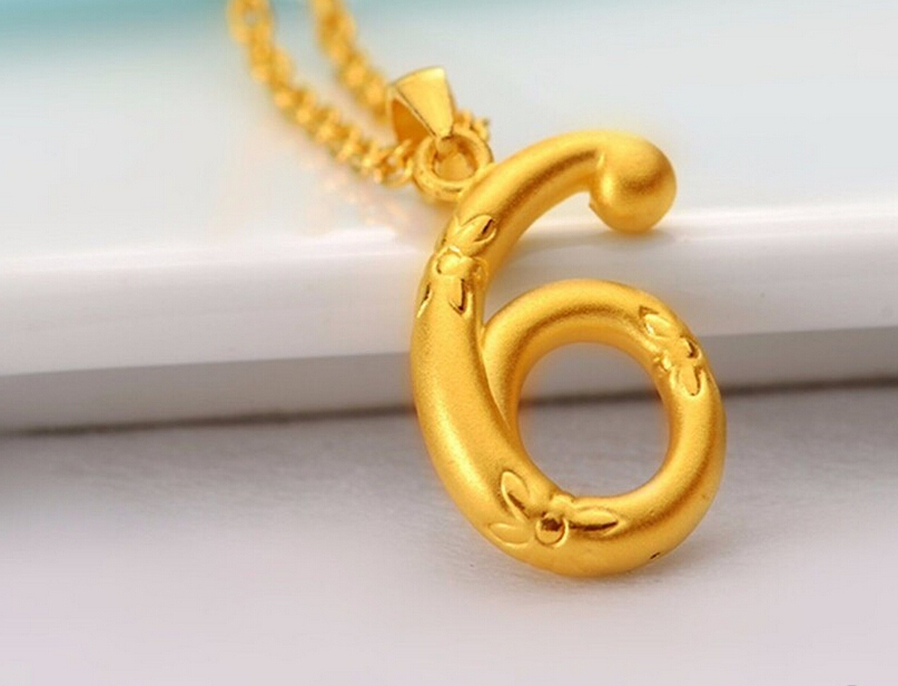 Hot sale New pure 24K Yellow Gold Pendant / 3D Lucky Number 6 Pendant / 1.5-2.3g hot sale new pure 24k yellow gold pendant 3d craft lucky number 3 pendant 1 68g
