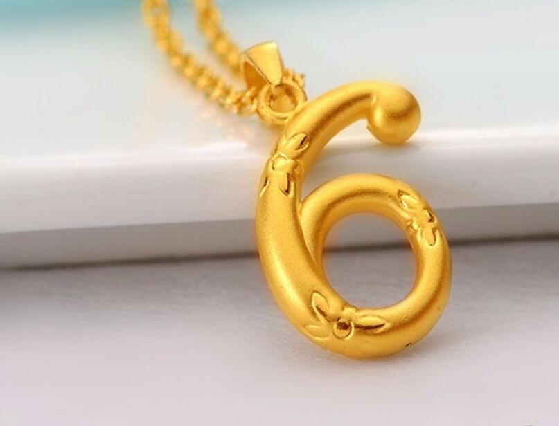все цены на Hot sale New pure 24K Yellow Gold Pendant / 3D Lucky Number 6 Pendant / 1.5-2.3g