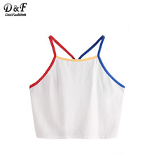 Dotfashion Contrast Binding Y Back Crop Cami Top Women s Plain Spaghetti Strap Vest Summer Beach