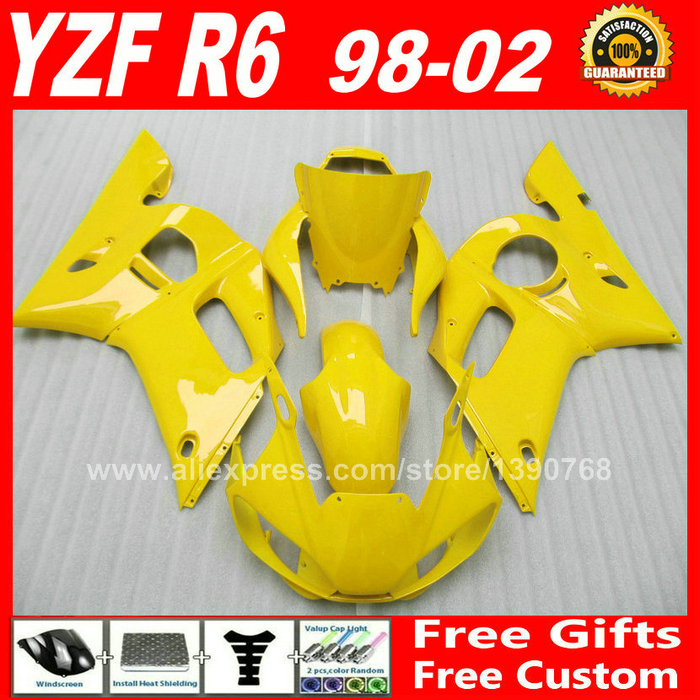 Light Yellow Fairing kit for YAMAHA YZF R6 98 99 00 01 02  DIY bodywork X6L8 1998 1999 2000 2001 2002  fairings kits