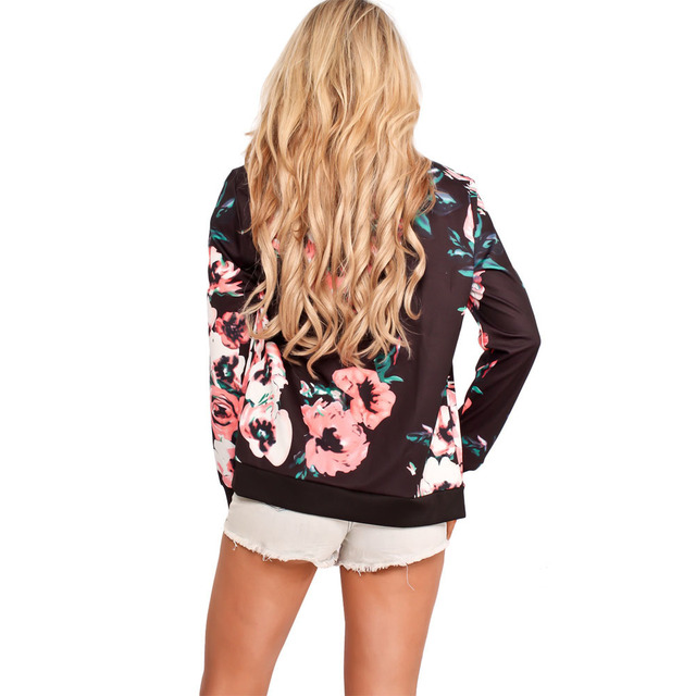 Floral Printed Women Jacket Long Sleeve Casual Zipper Jacket Coats 2017 Autumn Zipper Casual Jackets Outwear Women Basic Coats 2
