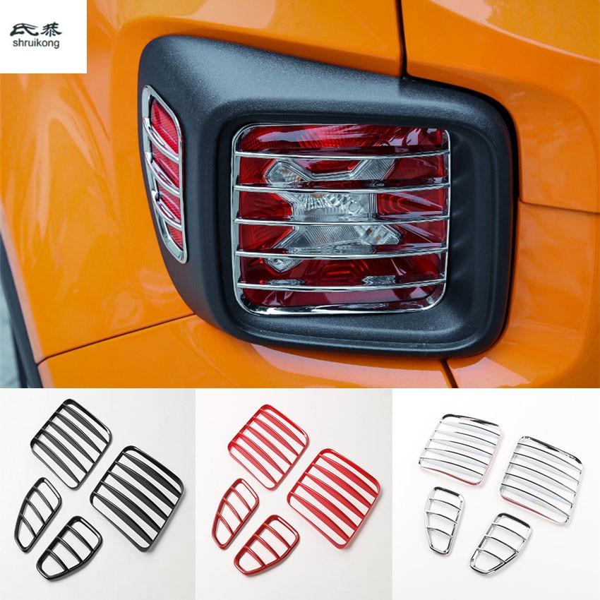 4 pcs/lot pour 2015 2016 2017 JEEP Renegade ABS Chrome voiture accessoires voiture autocollants feu arrière couverture décoration cadre