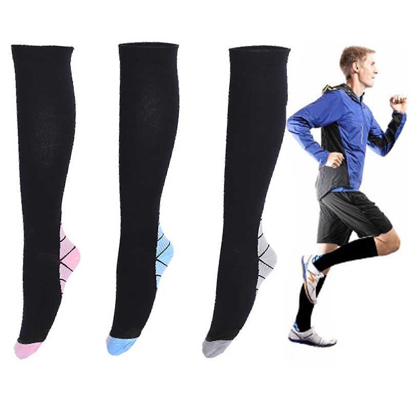 ... Мужские и женские Компрессионные носки дышащие давления тираж  анти-fatigu колено высокие ортопедические поддержки Стретч ... 37a56820afe