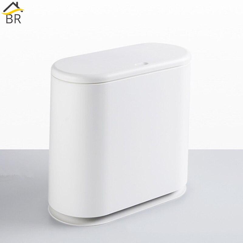 BR 15L poubelle en plastique Type de pressage poubelle de salle de bain poubelle de cuisine poubelle panier poubelle hôtel poubelles