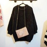 Cakucool Women Furry Long Sweaters Black White Striped Silver Lurex Jumpers Loose Long Lantern Sleeve Bling