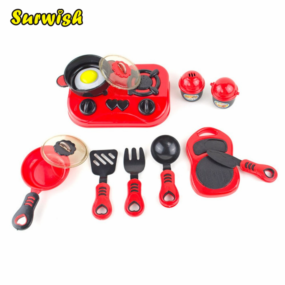 Surwish 11Pcs / set Kids toys House Kitchen Toys Cooking Food Dishes Cookware Pretend & Play Kitchen Playset