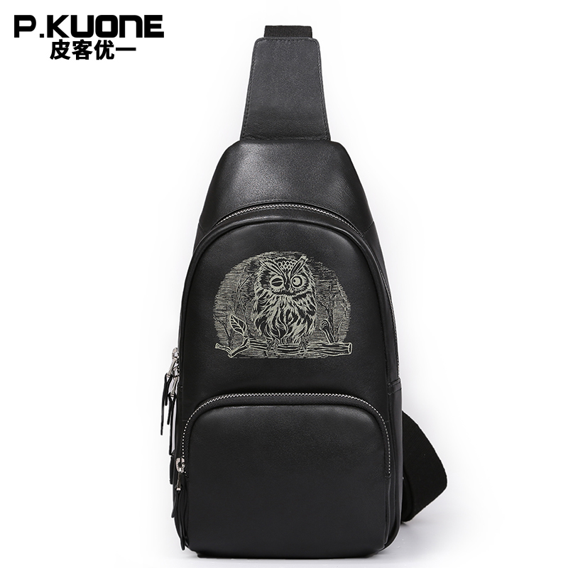 P.KUONE Brand Famous Design Animal Owl Chest Pack Bag Men Funny Leather One Shoulder Bags Chest Bag Male Crossbody Bag Black kangaroo kingdom famous brand nylon men bag chest pack male one shoulder crossbody messenger bags