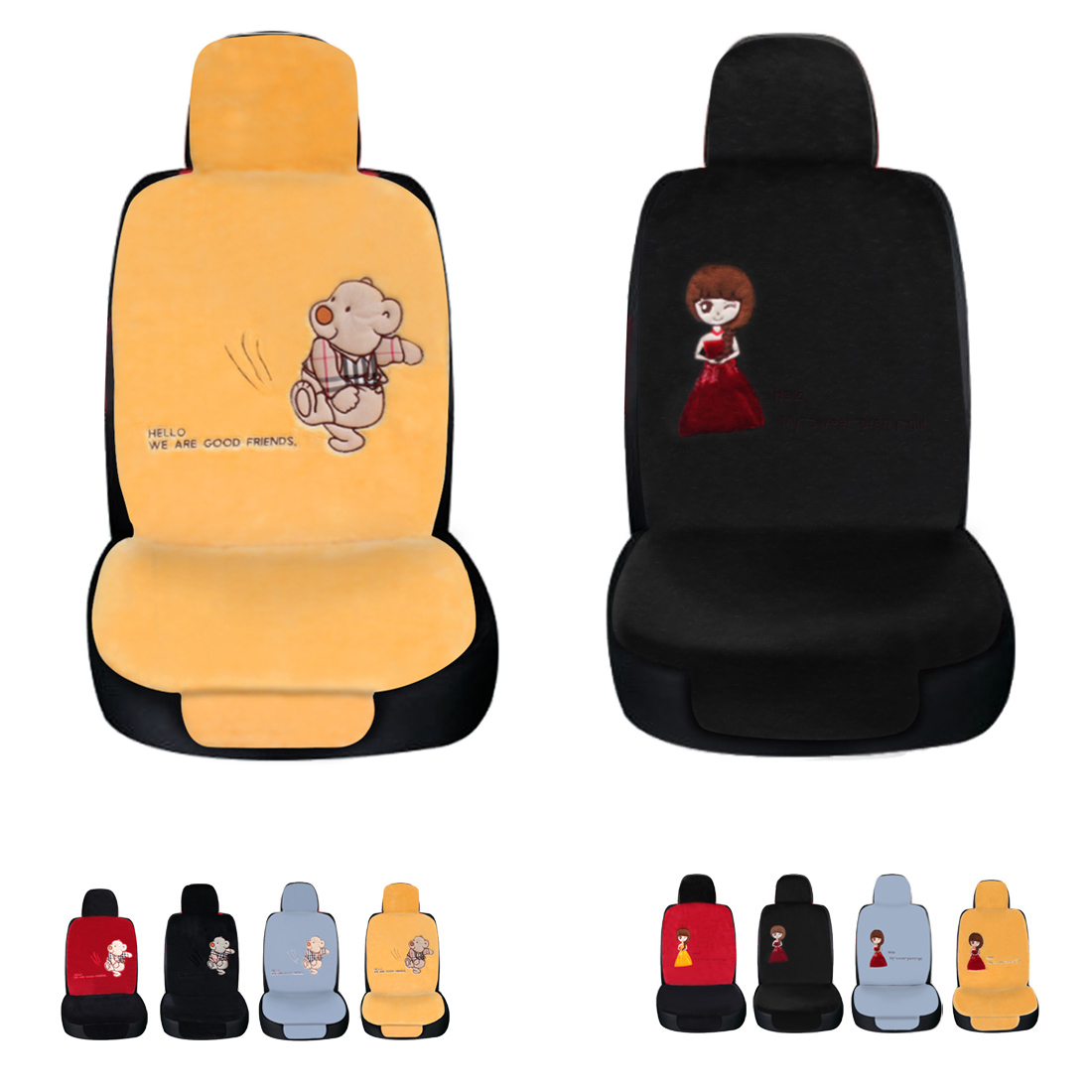 Dewtreetali Single Front Car Seat Cover Car Seat Cushion Bear Girl Winter Plush Cushion Car Seat Covers for Auto Van Truck crystal lux бра crystal lux creek ap1