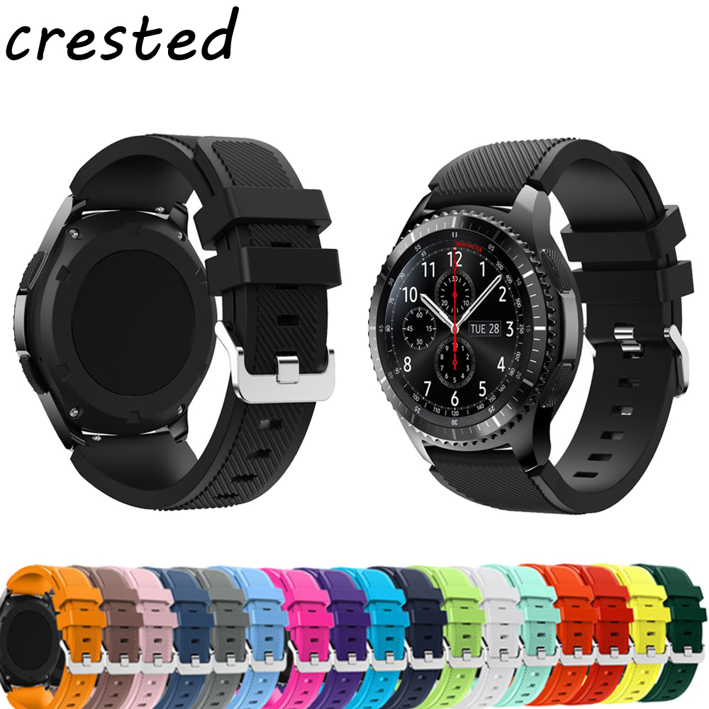 CRESTED 22mm Sports Silicone band for Samsung Gear S3 Frontier/Classic strap smart watch wrist bracelet replacement watch band 22mm sports silicone strap for samsung gear s3 frontier band for gear s3 classic rubber watchband replacement wristband