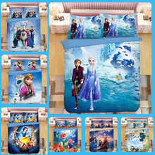 Frozen Anna Elsa bedding sets Children single twin King size  princess duvet cover PillowCase sweet girl kids bed 3d cartoon