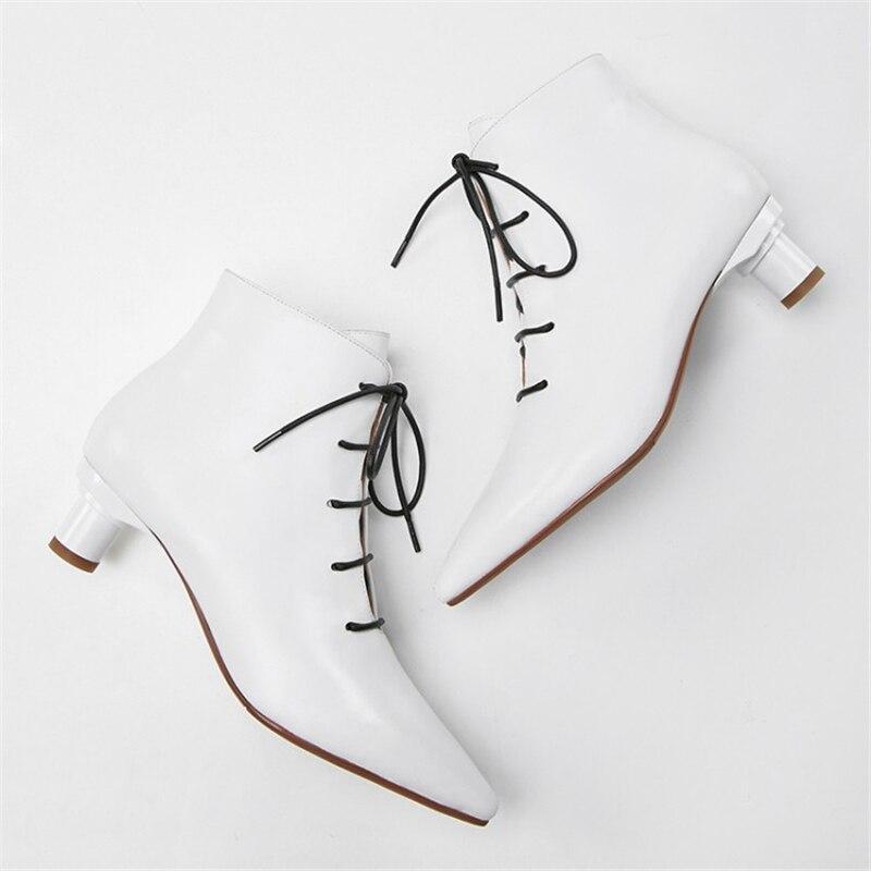 Automne Pointu Bureau Cuir Lace Mode Style Femmes Bottes Noir Up Étrange Bout En Cheville Blanc blanc Ouqinvshen QroeWxEdCB
