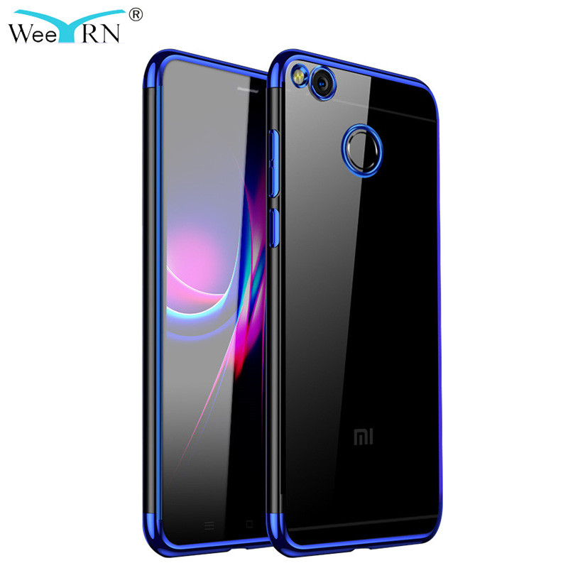 WeeYRN Transparent Plating 3D Soft Case Xiaomi Redmi 4X Funda Luxury Full Protection Silicone TPU Cover Xiaomi redmi 4X redmi4X