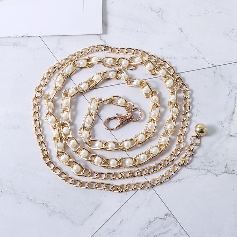 Women Metal Imitation Pearl Beads Thin Waist Chain Belt Adjustable Gold Chains Waistband Strap Dress Accessories Decor