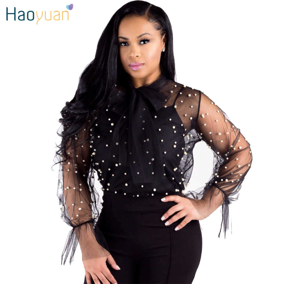 85acf34967028 Detail Feedback Questions about HAOYUAN Sexy See Through Womens Tops And Blouses  Long Sleeve Black White Sheer Blusas Casual Mesh Beading Beach Summer ...