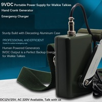 DC9V Hand Crank Generator, Emergency Charger, Sturdy Build of Casting Aluminum Case, Portable Power Supply