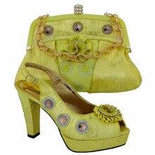Neue Mode Italienische Schuhe Und Tasche Set Italien Damen Offene spitze Heels African Schuhe Und Tasche Set Für Partei gelbe Farbe! VL1-31