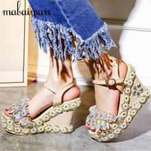 2017 New Summer Crystal Embellished Sandals Gladiator Wedge Shoes Woman Women Platform Pumps High Heels Ladies Stiletto Wedges