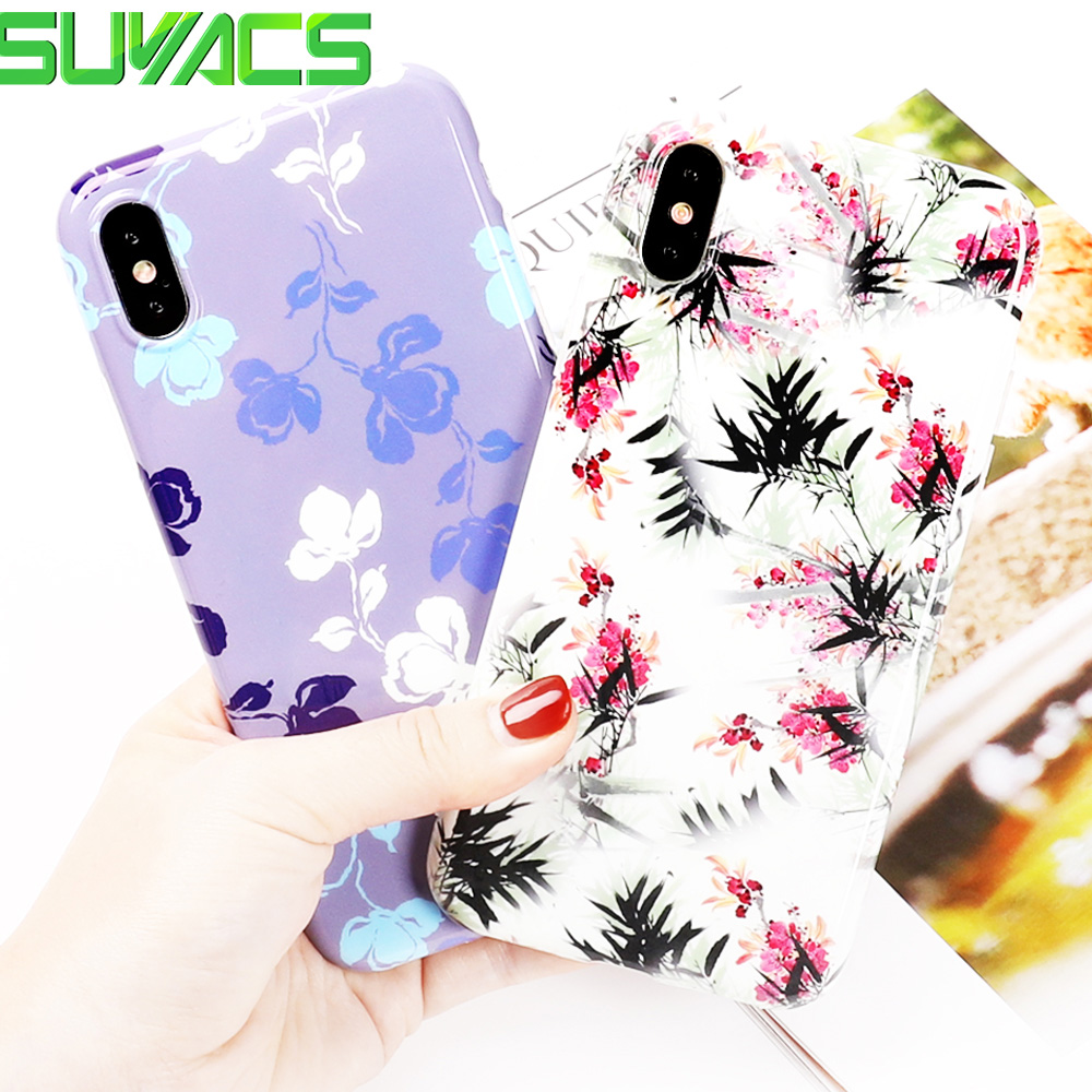 SUYACS Phone Case For iPhone X 6 6S 7 8 Plus Beautiful Flower Pattern IMD Soft Fashion Protective Phone Cover Case Coque Gift