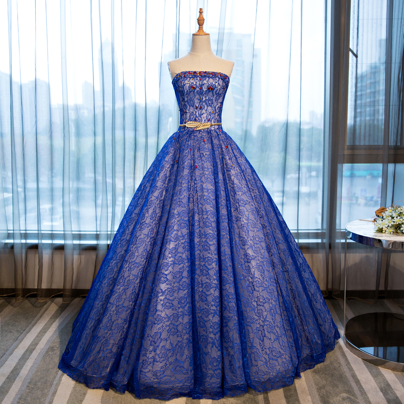 100%real 18th royal blue lace embroidery ball gown Medieval dress court queen Renaissance Gown vintage Victoria dress Belle ball