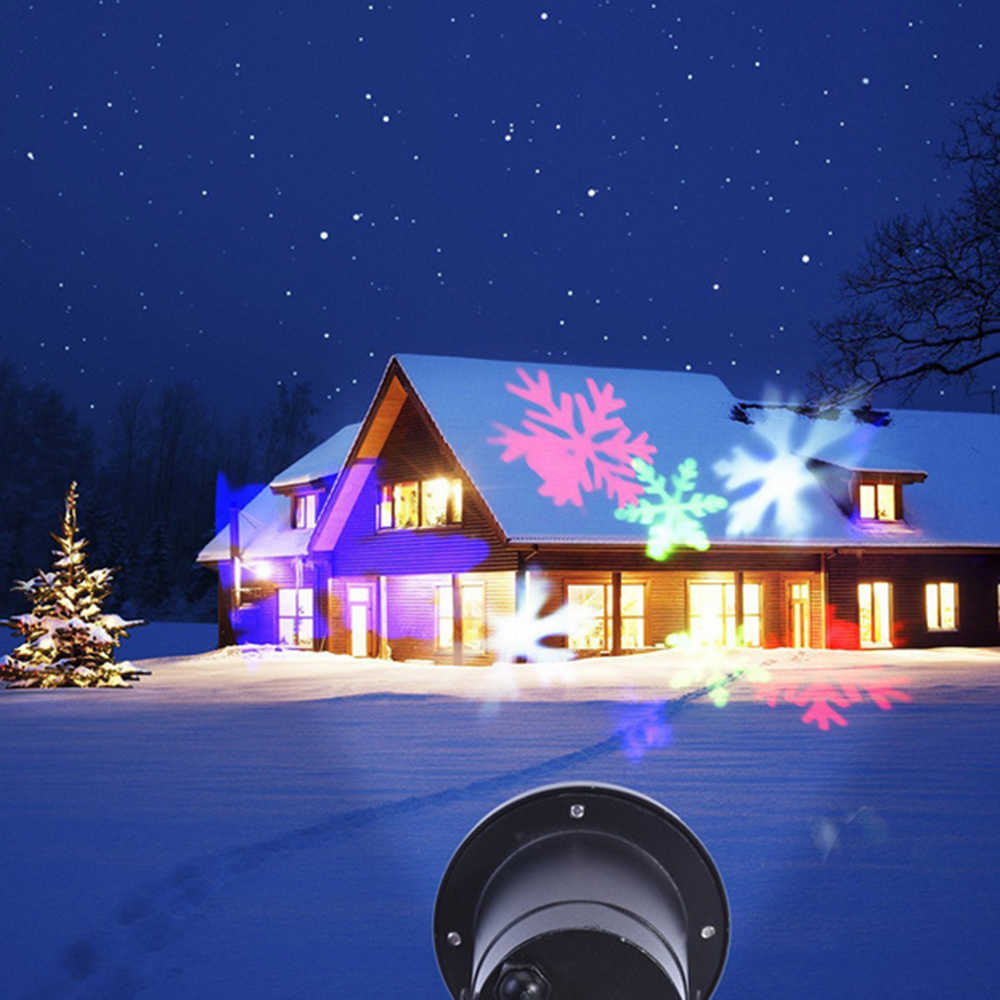 Waterproof Moving Snow Laser Projector Lamp Snowflake LED New Year - Holiday Lighting