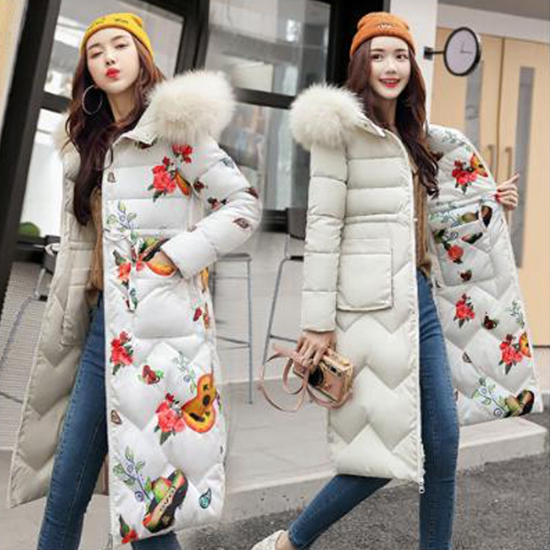 Fashion Hooded Print Warm Long   Parkas   Thick Winter Coat Women 2018 Two Side Wear Down Cotton Winter Jacket Women Outwear