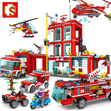 Sembo Block Legoing City Series The Fire Station Model Building Brick Toy For Children Learning Gifts