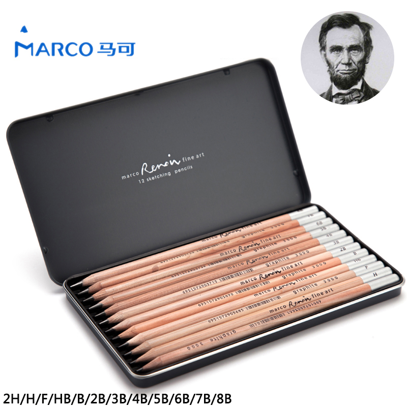 Marco 12Pcs Iron Box Charcoal Drawing Pencil Sketch Painting Best Quality Non-toxic Standard Pencils For Office School Pencil marco renoir 12pcs sketch drawing pencils non toxic standard pencils 2h 8b different hardness pencil stationery school supplies